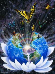 butterfly and earth in lotus flower