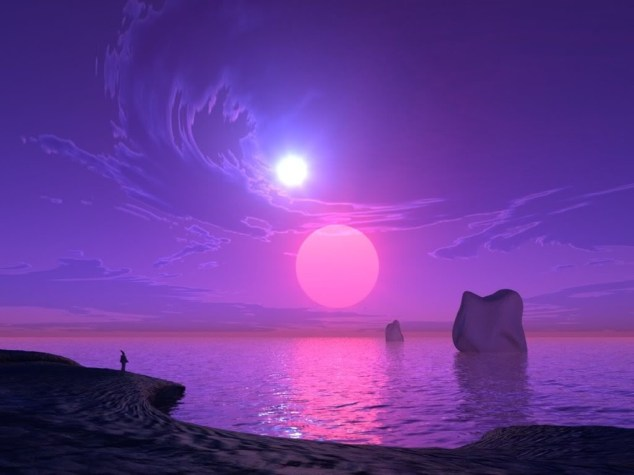 purple landscape with planet and sun